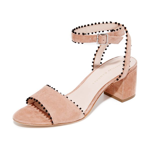 Loeffler Randall eryn city sandals in deep blush/black - Contrast seed-bead trim adds a bohemian touch to these...