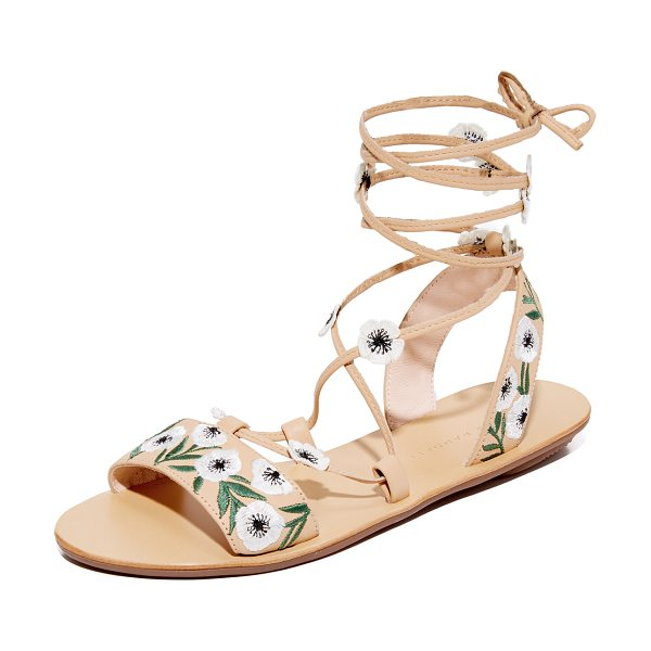 Loeffler Randall fluera wrap sandals in wheat/anemone - Floral embroidery adds cheery style to these leather...