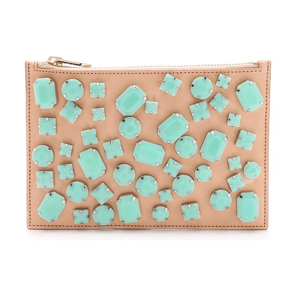 LOEFFLER RANDALL Gem clutch - Bezel set, faceted stones bring matte color to this slim...