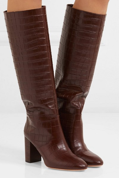 Loeffler Randall goldy croc-effect leather knee boots in brown