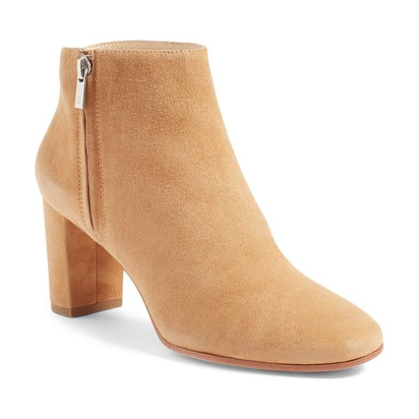 Loeffler Randall 'greer' zip bootie in dark camel - This simple, elegant bootie is enveloped heel to toe in...