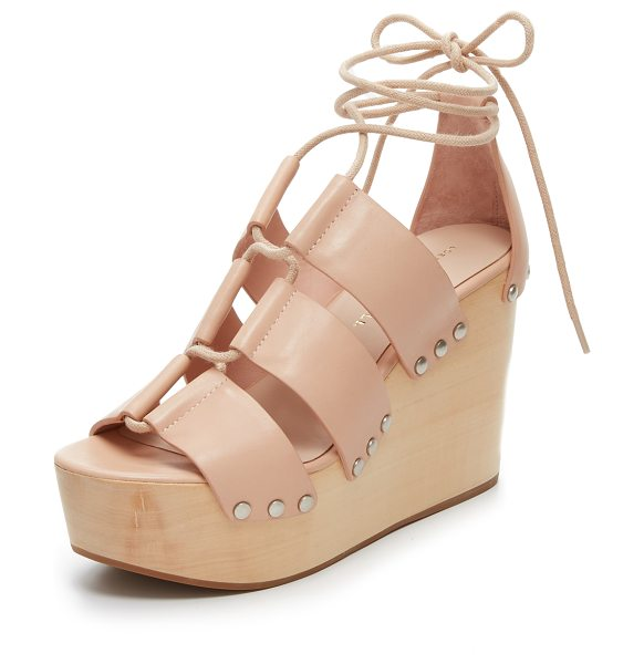Loeffler Randall Ines clog wedges in nude - A smooth wooden base brings retro flair to these leather...