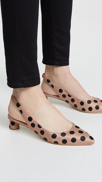 Loeffler Randall laura slingback pumps with bow in tan black - Fabric: Silky weave Embroidered dots Leather lining...
