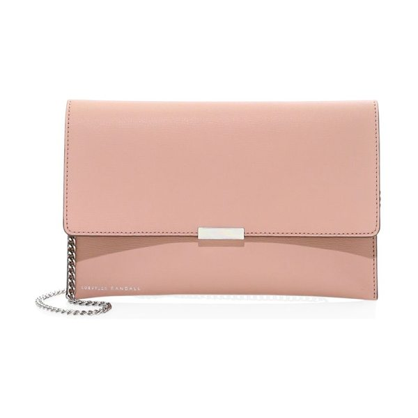 Loeffler Randall leather envelope clutch in buff pink - Classic envelope clutch rendered in supple leather with...