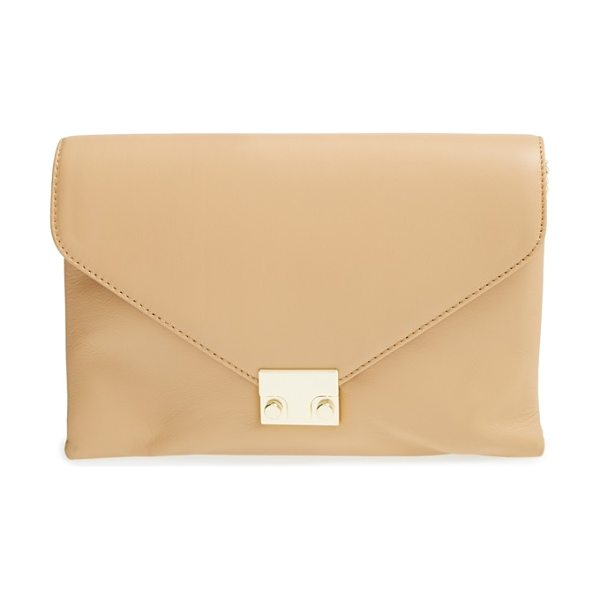 Loeffler Randall Lock clutch in natural/gold hardwar