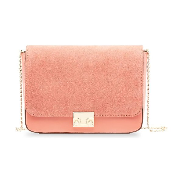 Loeffler Randall lock shoulder suede & leather crossbody bag in dusty rose