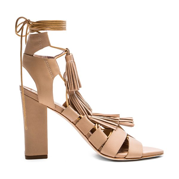 Loeffler Randall Luz heel in beige - Leather upper and sole. Multi tassel accents. Lace-up...