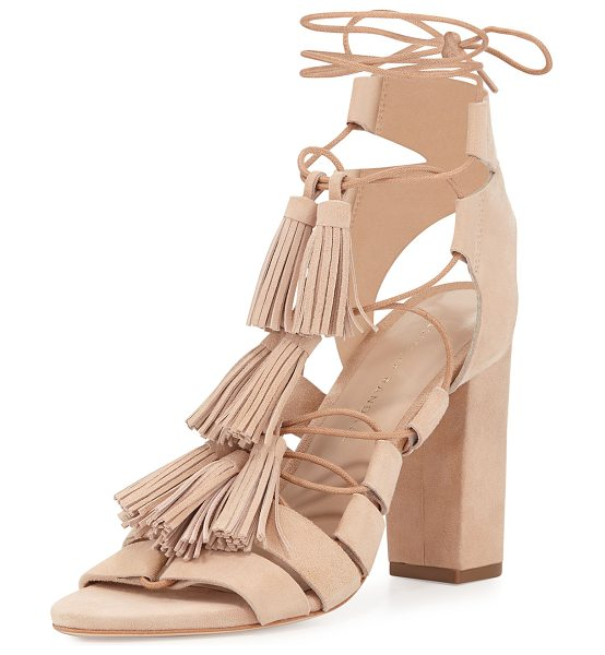 "Loeffler Randall Luz Suede Lace-Up Sandal in beige - Loeffler Randall ""Luz"" suede sandal. Available in..."