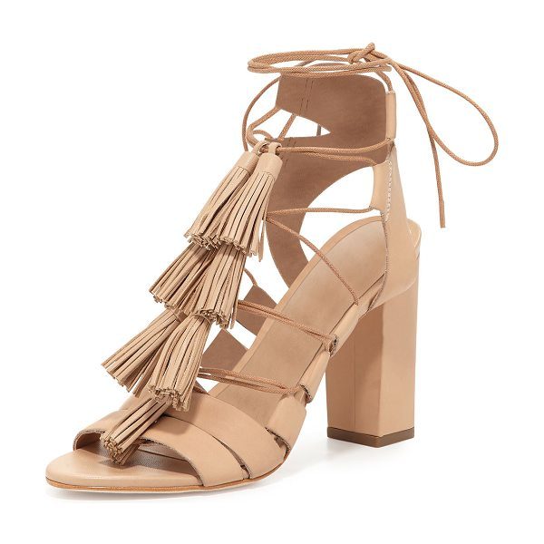 "LOEFFLER RANDALL Luz Tassel Lace-Up Leather Sandal - Loeffler Randall leather sandal. 4"" covered heel. Open..."