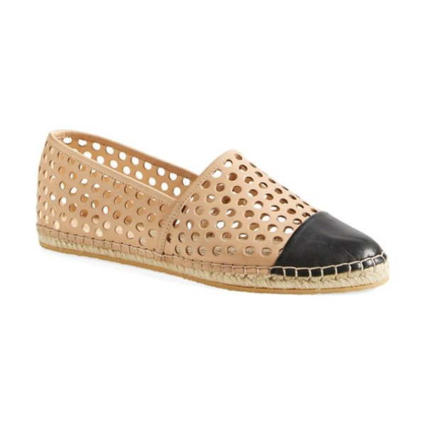 Loeffler Randall mara espadrille flat in buff/ black - Geometric perforations and a contrast cap toe give this...