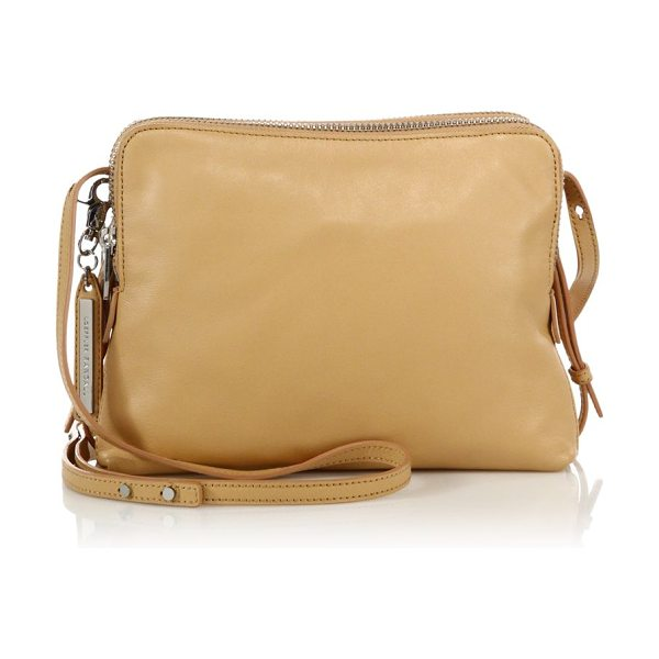 Loeffler Randall Medium double-zip leather crossbody bag in natural
