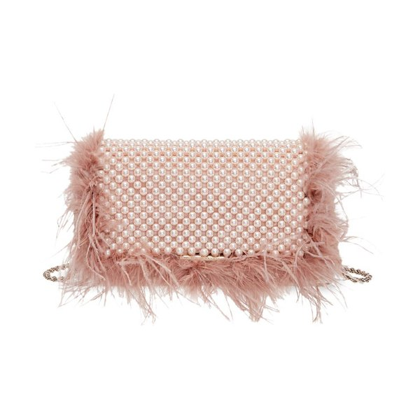 Loeffler Randall mimi feather-trimmed beaded clutch in blush
