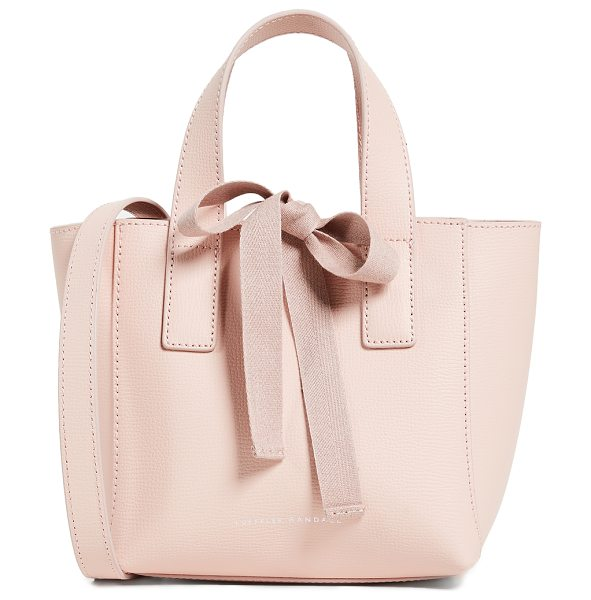 LOEFFLER RANDALL mini ribbon shopper tote - Leather: Cowhide Striped ribbons Snap at top Tie at top...