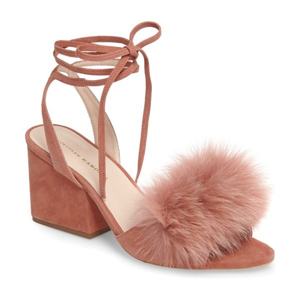 LOEFFLER RANDALL nicky genuine fox fur ankle wrap sandal - Plush fox fur at the vamp and slender ankle wraps soften...