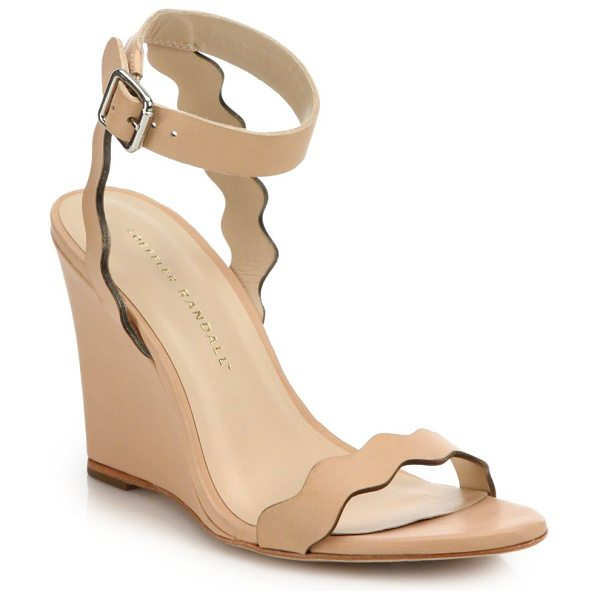 Loeffler Randall piper scallop leather wedge sandals in nude - Scalloped straps elevate sleek leather wedge. Wedge...