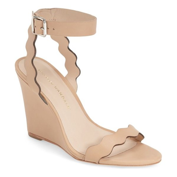 Loeffler Randall 'piper' wedge sandal in wheat vacheta - Scalloped curves lend a touch of feminine whimsy to a...