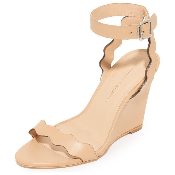 Loeffler Randall piper wedge sandals in wheat - Scalloped straps lend a feminine touch to these smooth...