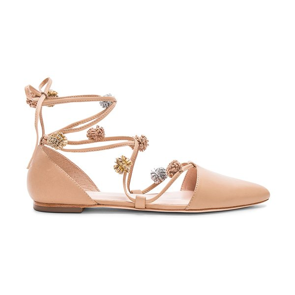 Loeffler Randall Pollie Flat in tan - Leather upper and sole. Lace-up front. Metallic leather...