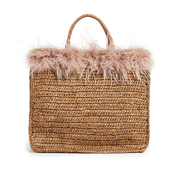 Loeffler Randall raffia travel tote bag in miel/buff pink - This item cannot be shipped outside the USA Fur: Dyed...