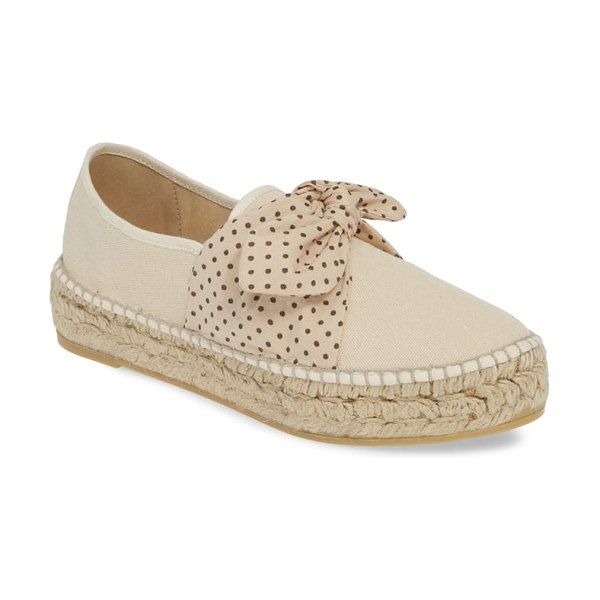 Loeffler Randall rowan bow espadrille in beige - A bow of polka dot fabric relaxes over the top of a...