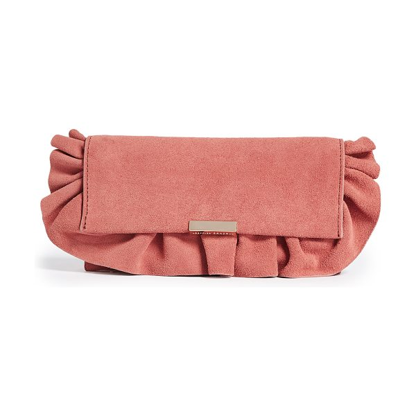 Loeffler Randall ruffled tab clutch in dusty rose - A suede Loeffler Randall clutch finished with a pretty,...