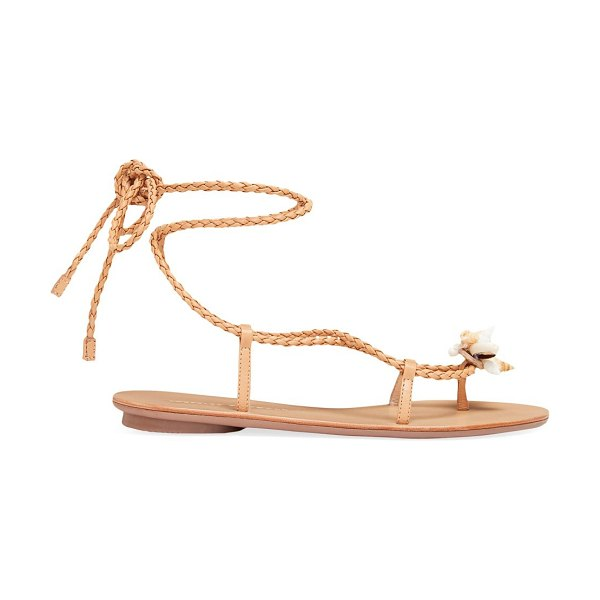 Loeffler Randall shelly ankle-wrap leather sandals in dune