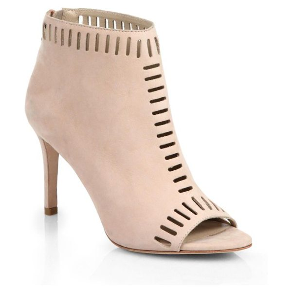 Loeffler Randall Sloane laser-cut suede open-toe booties in shell - An open toe adds a unique perspective to these laser-cut...