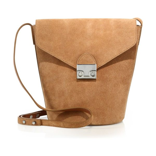 LOEFFLER RANDALL suede crossbody bucket bag in desert - Tapered bucket silhouette in suede with signature lock....