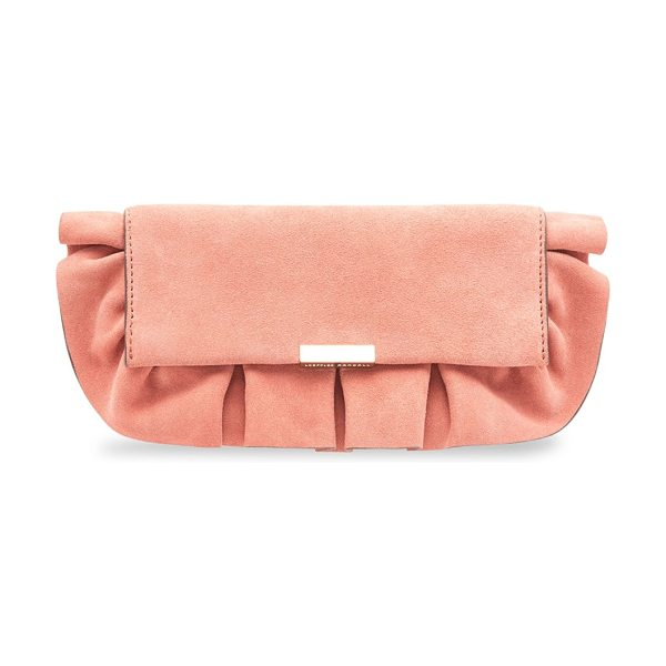 Loeffler Randall tab suede clutch in dusty rose - Suede clutch featuring a ruffled design. Removable chain...