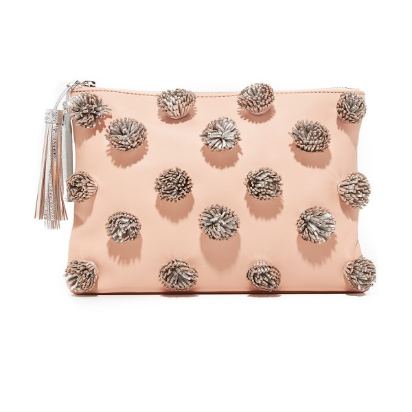 LOEFFLER RANDALL tassel pouch in natural/silver - Metallic leather tassels cover the front of this supple...