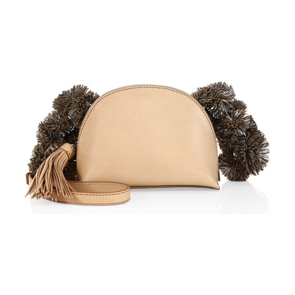 Loeffler Randall vachetta leather crossbody pouch in natural - Compact pouch with fun pom-poms and tassels. Crossbody...