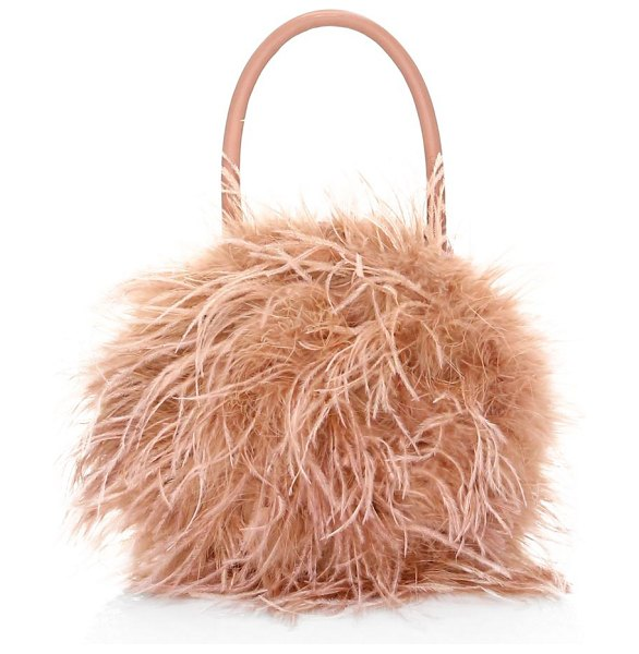 Loeffler Randall zadie feather circle clutch bag in buff pink - Luxe bag with wispy feathers and satin lining. Top...