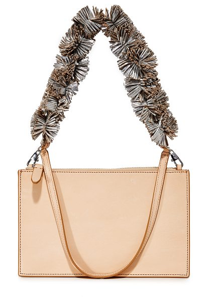 Loeffler Randall zip pouch in natural/silver - A strand of metallic-leather pom-poms adds eye-catching...