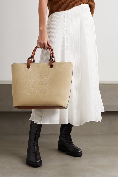 Loewe anagram medium leather-trimmed debossed suede tote in beige
