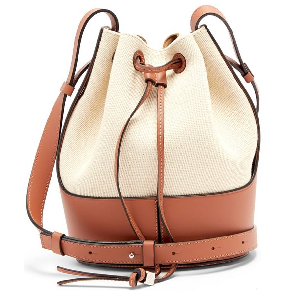 Loewe balloon small canvas and leather shoulder bag in cream multi
