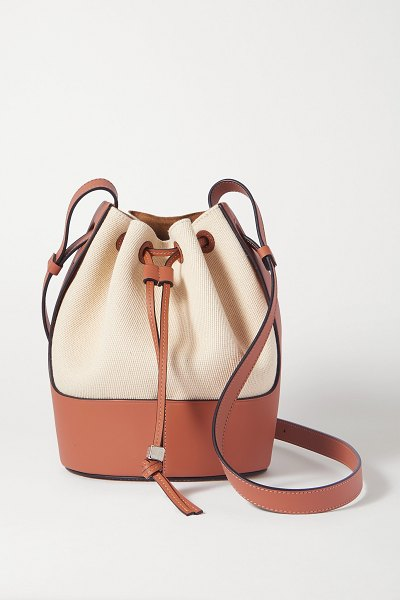 Loewe balloon small cotton-canvas and leather bucket bag in neutrals