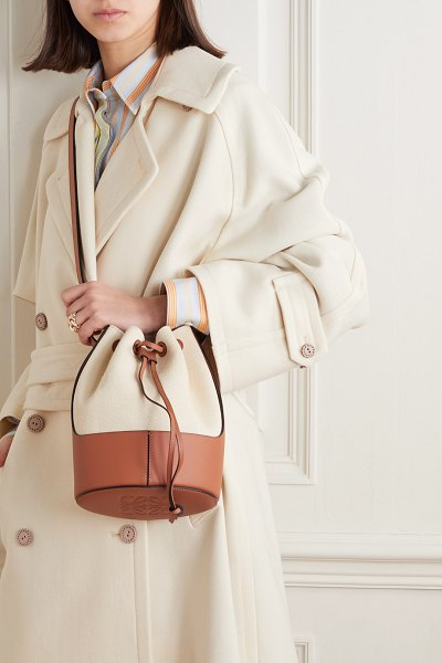 Loewe balloon small cotton-canvas and leather bucket bag in neutral