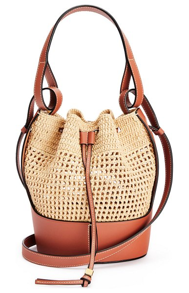 Loewe Balloon Small Two-Tone Bucket Bag in tan