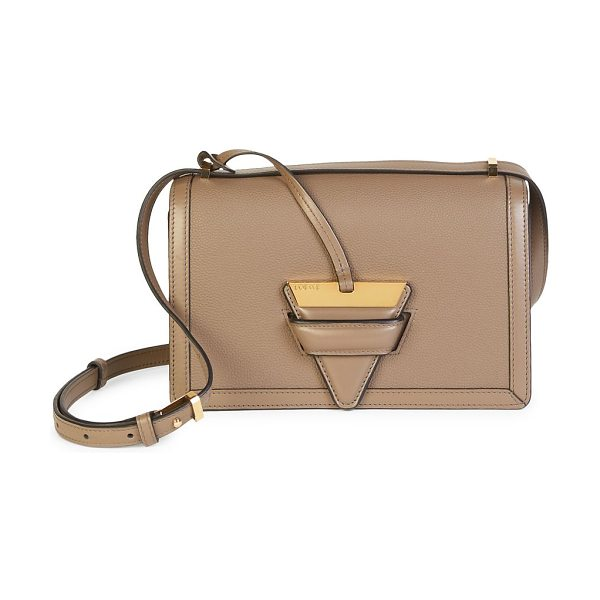 Loewe barcelona leather shoulder bag in darktaupe - Smooth leather silhouette features metallic triangular...