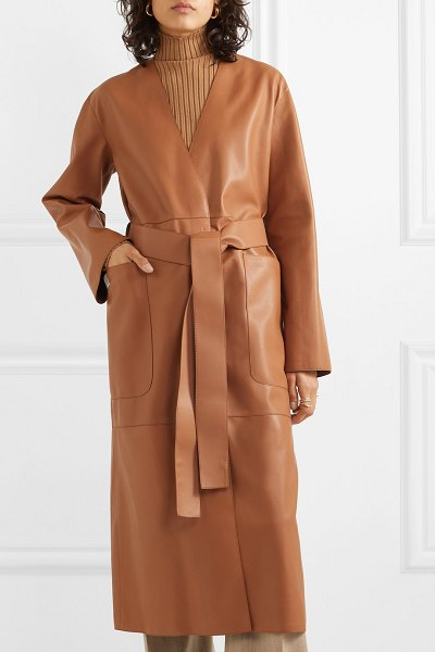 Loewe belted leather coat in tan