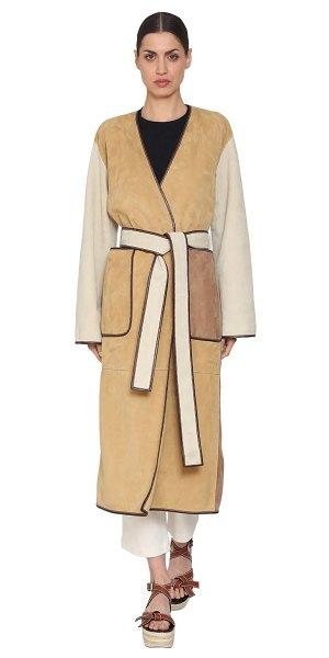 Loewe Color block suede coat in white/beige - Wrap style with self-tie closure . Contrasting color...