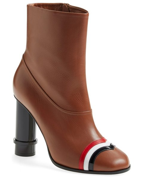 Loewe column ankle boot in caramel leather - Brightly hued bands of glossy nappa leather accent the...