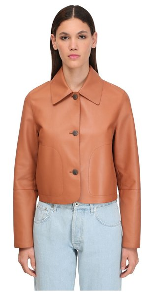 Loewe Cropped leather jacket in tan