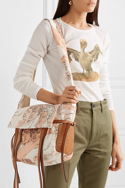 Loewe faces small leather-trimmed printed canvas shoulder bag in blush