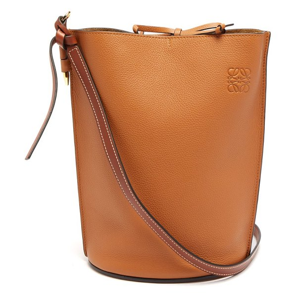 Loewe gate grained leather bucket bag in tan