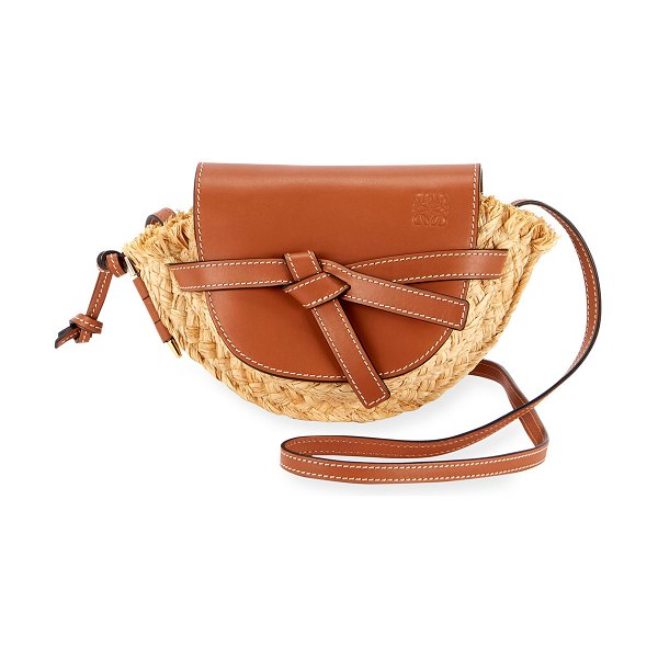 Loewe Gate Mini Raffia Shoulder Bag in tan