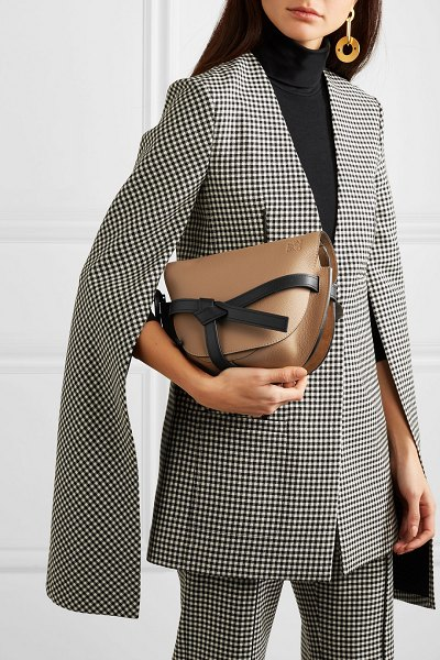 Loewe gate small textured-leather shoulder bag in light brown