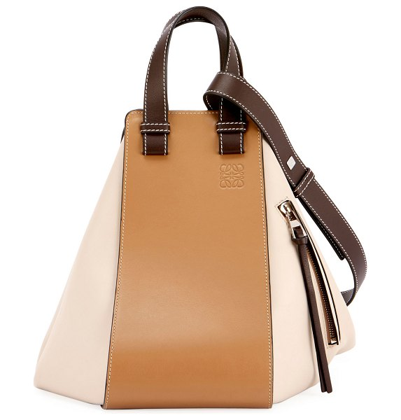 Loewe Hammock Small Classic Shoulder Bag in taupe - Loewe colorblock calf leather satchel bag. Flat tote...