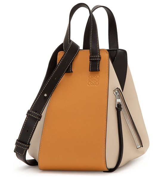 Loewe Hammock Small Colorblock Leather Satchel Bag in beige