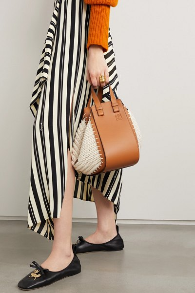 Loewe hammock small leather and crochet-knit cotton shoulder bag in tan